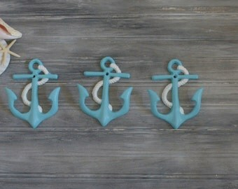 Set of Three Anchor Hooks. Anchor Hook. Anchor Decor. Beach Decor. Coastal Decor. Nautical Decor. Boat Decor. Wall Hook. Towel Hook.