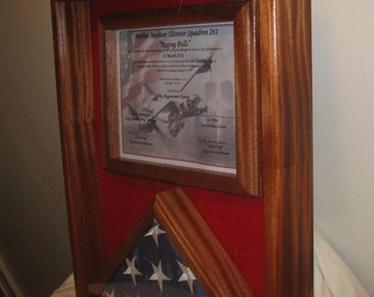Sapeale Mahogany  Hardwood Memorial Flag and Certificate Display Case