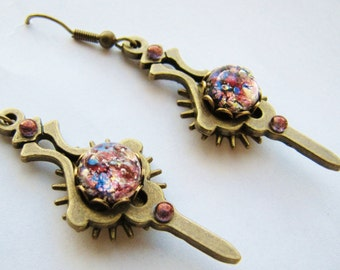 Steampunk Watch Hand & Gear Earrings with Vintage Amethyst Fire Opals, Steampunk Earrings, Steampunk Clock Hand Earrings ERG70
