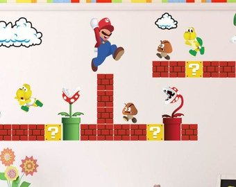 Super Mario Decals, Mario Decals, Game Room, Vintage Nintendo Decals, Super  Mario