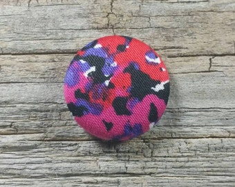 Red, purple, pink and black print fabric covered buttons (size 60, 40, 32, 20, or 18)