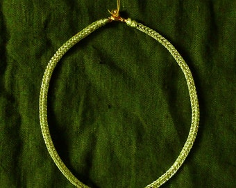 Viking Knit Gold Necklace / Copper Wire Chain / Handmade Viking Asatru Pagan Bohemian Medieval Witch Reenactment Renaissance Elegant Chic