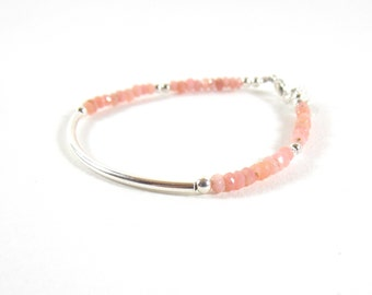 Bracelet 925 half-ring and faceted gemstones Pink Opal.