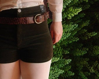 high waist green velour shorts