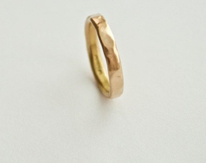 Rose Gold Ring - Wedding Band - Unique Organic Shape  - 18 Carat Gold Molten Ring - Men's Women's - Couples - Unisex