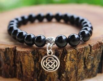 Mens Bracelet,Mens Jewelry,Onyx Bracelet,Mens Bracelet,Gift for Him,Celtic Knot Bracelet,Black Bracelet,Black Onyx Bracelet