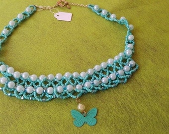HandMade Beautiful beadwork necklace pearl and bicone azure beads butterfly pendent