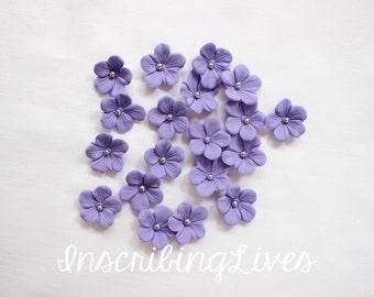 Fondant flower blossoms 36pcs lavender cake topper edible fondant flowers lilac decorations wedding baby shower bridal