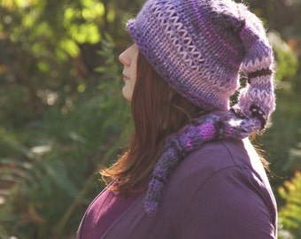 Violet, purple, Pixie/ Gnome / Fairy/ Enchanted/ Magical, pointed hat, with a bell, handknitted. Lilac, elf hat, gnome , medieval, fantasy
