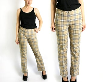 Vintage ESPRIT Women's 90's Sand Beige and Black Checkered Plaid Boot Cut Stretchy Pants Trousers High Waist - Medium to Large