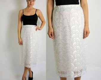 Vintage 70's White Lace High Waisted Midi Pencil Skirt - Small to Medium