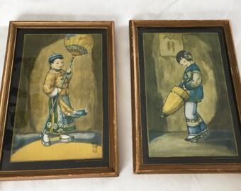 """Pair of Wylog Fong Antique Prints, Djair and Daang-loong -  7"""" wide x   9.5"""" long"""