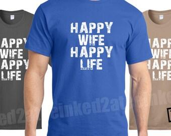 Happy Wife Happy Life Mens Tshirt humor funny gift his husband