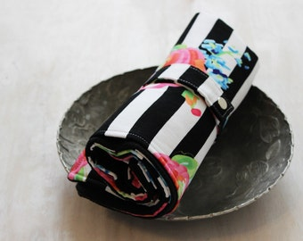 Travel Changing Pad, Floral Stripe Fabric, Black and White, Baby Play Mat