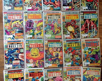 Eternals; Vol 1, 1 through 19 and Annual 1 Bronze Age Comic Book Lot, Full Series run.  Various Conditions. 1976 - 1978. Marvel Comics