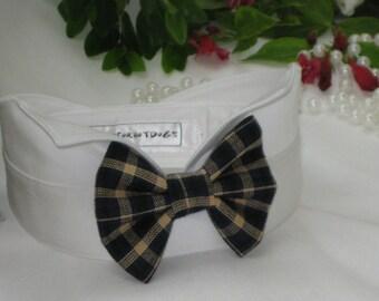 Dog Bow Tie Collar~Navy&Tan Plaid Bow WingtipTuxedo Dog Collar~Autumn Wedding~Dog Ring Bearer~Dog Wedding Attire~Marry Me Prop~Rustic