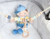 NEW Baby stroller chain /  Crochet Pram chain / Organic and natural / Beads are safe for teething / Stylish teething ring