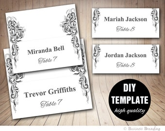 Grey Wedding Placecard Template 3.5x2 Foldover, DIY Silver Placecards, Instant Download,Microsoft Word Template,Wedding Black Placecards