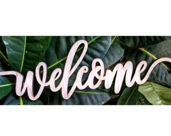 Welcome Laser Cut Cursive Word Sign For Wall Decor