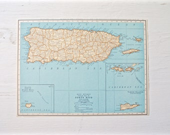 1930 - Puerto Rico Map - Large Antique Map - Beautiful Old Map Puerto Rico - Large Vintage Map - Colorful Atlas Map - Gift - Home Decor