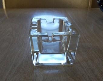 Vintage Heavy Duty Block Glass Ashtray