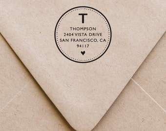 Monogram Address Stamp, Monogram Stamp, Monogram Return Address Stamp, Return Address Stamp, Round Address Stamp, Custom Address Stamp