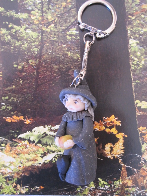 WITCH! Key ring halloween, tales of fairies, backpack or bag, porcelain cold saeljana