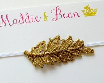 Gold Leaf Headband, Baby Headband, Gold Baby Headband, Gold Headband, Baby Girl Headband, Baby Gold Leaf, Toddler Headband, Headband Baby
