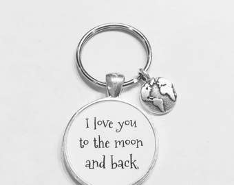Best Friend Gift, Earth I Love You To The Moon And Back Keychain, Best Friend Keychain, Globe Planet Map Friends Sisters Gift Keychain