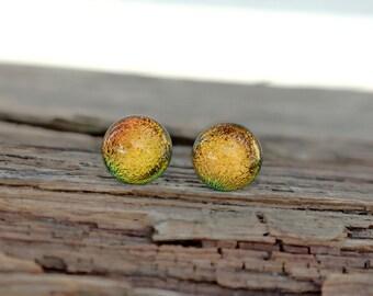 Gold glass stud earrings, glass stud earrings - dichroic earrings - post earrings - tiny stud earrings