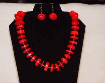 Genuine Coral Rondelle Necklace & Earrings (CRIMSON)