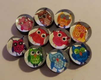 Set of 10 Strong, Glass magnets, Owl theme Magnets, bird, cute refrigerator, office, or kitchen decor,  fridge magnets, colorful, handmade