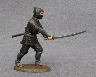 Japanese Ninja Action Figures Attack Sword Painted Tin Toy Soldiers Collection 54mm 1/32 Miniature Antique Statuette