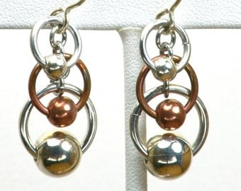 Copper & Aluminum Chain Maille Earrings