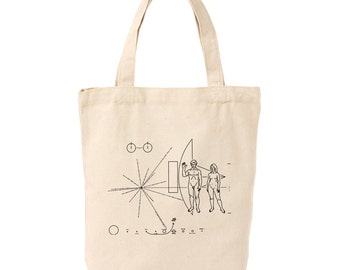 Pioneer 10 Spacecraft Plaque Silk Screen Printed Canvas Tote, Grocery Bag, Farmers Market Bag, 100% Cotton