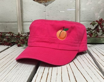 Cadet Castro Cap Peach Embroidery Hot Pink Low Profile Cap Curved Bill Velcro Strap