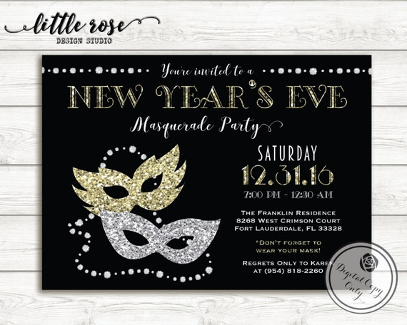New Year's Eve Masquerade Party Invitation NYE Party