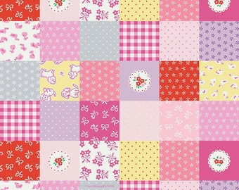 Strawberry Biscuit Fabric, Penny Rose C5101 Pink Cheater Fabric, Elea Lutz, Baby Girl Quilt Fabric, 100% Cotton, Quilting Fabric
