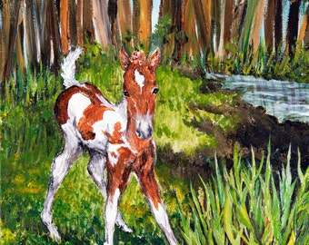 "Original Chincoteague Pony Painting, ""Chincoteague Mischief"""