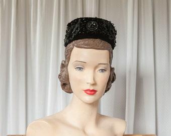 vintage black beaded pillbox | 60s pillbox hat | black velvet 60s hat | black 1960s hat | vintage pillbox cap