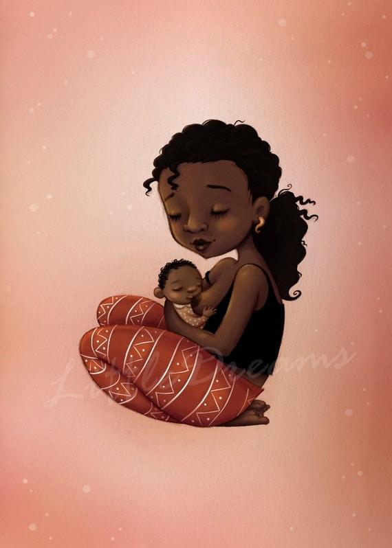 Illustration maman noire qui allaite carte cadeau pour