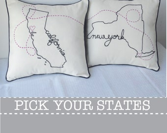 Connecting States California New York with Hearts Embroidered Custom Decorative Housewarming Throw Pillow Cover Set Ohio Texas
