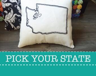 State Embroidered Custom Decorative Throw Pillow Cover Set Pennsylvania Ohio Washington Texas California