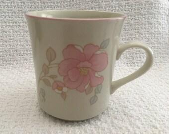 China Pearl Stoneware, Claudia Pattern, Pink Rimmed Mug, Pink Flowers, Floral Mug, Floral Tea Cup, Floral Coffee Mug, 1988, China, No Saucer