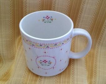Michel & Company Mug, Dena Design Mug, 1987, Floral Ceramic Mug, Floral Pattern Inside, Made in Japan