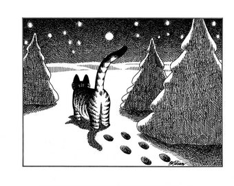 Kliban cat cartoon funny vintage print at night winter snow feline illustration 8.5 x 10.25 inches