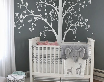 Large Tree Decal Huge White Tree Wall Decal Stickers Corner Wall Decals Wall  Art Tattoo Wall Part 74
