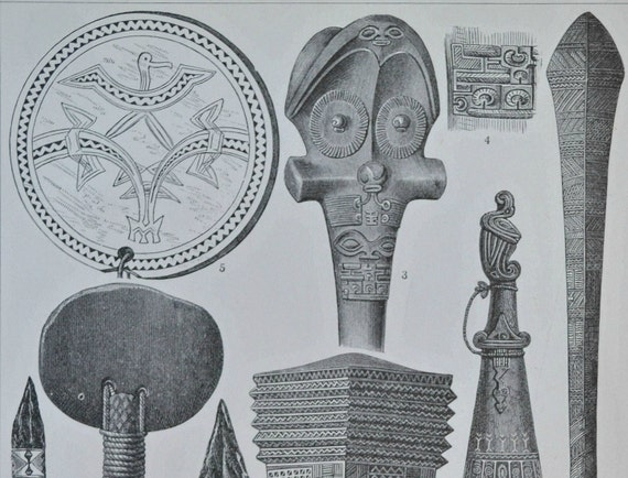 Oceania cultures  engraving.  Old book plate, 1904. Antique  illustration. 111 years lithograph. 9'6 x 6'2 inches.