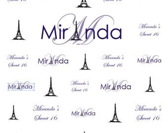 purple, paris theme Sweet 16 Backdrop, Paris Eiffel Tower Theme, birthday backdrop, photobooth backdrop, party supply, Event photo backdrop