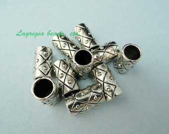 10 Big hole cylinder beads Silver -  Wholesale MHP110